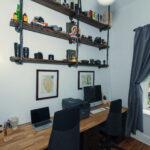 custom built shelves and desk